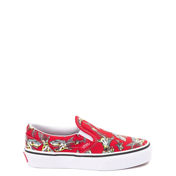 Vans Slip On Zombie Shark Skate Shoe - Little Kid / Big Kid - Red