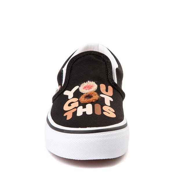 "alternate view Vans Slip On Breast Cancer Awareness ""You Got This"" Skate Shoe - Little Kid / Big Kid - BlackALT4"