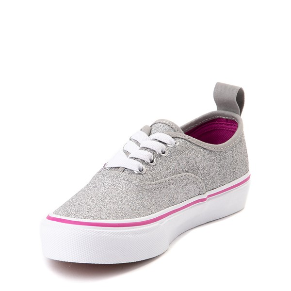 alternate view Vans Authentic Glitter Skate Shoe - Little Kid / Big Kid - SilverALT3