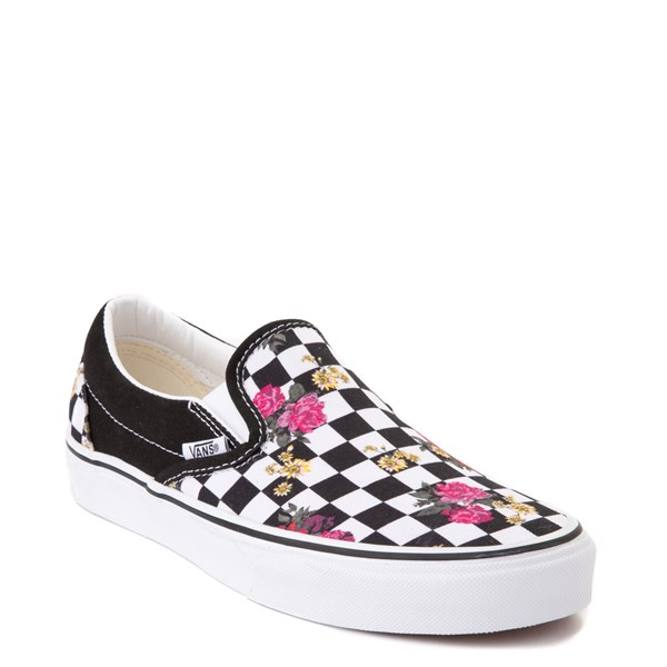 Alternate view of Vans Slip On Botanical Checkerboard Skate Shoe - Black / White