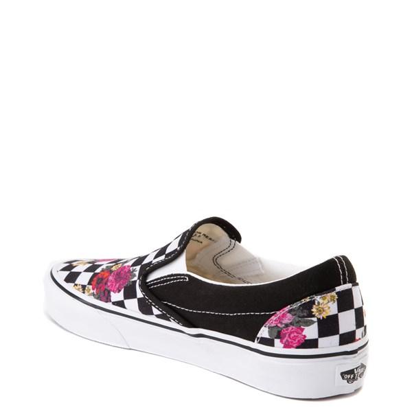 alternate view Vans Slip On Botanical Checkerboard Skate Shoe - Black / WhiteALT2