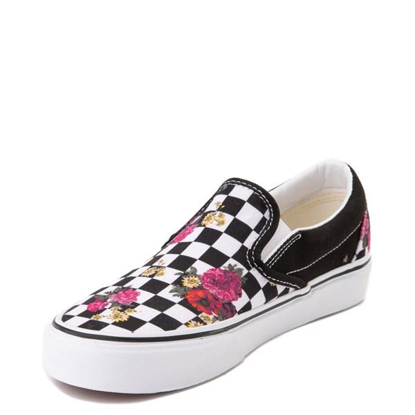 alternate view Vans Slip On Botanical Checkerboard Skate Shoe - Black / WhiteALT3