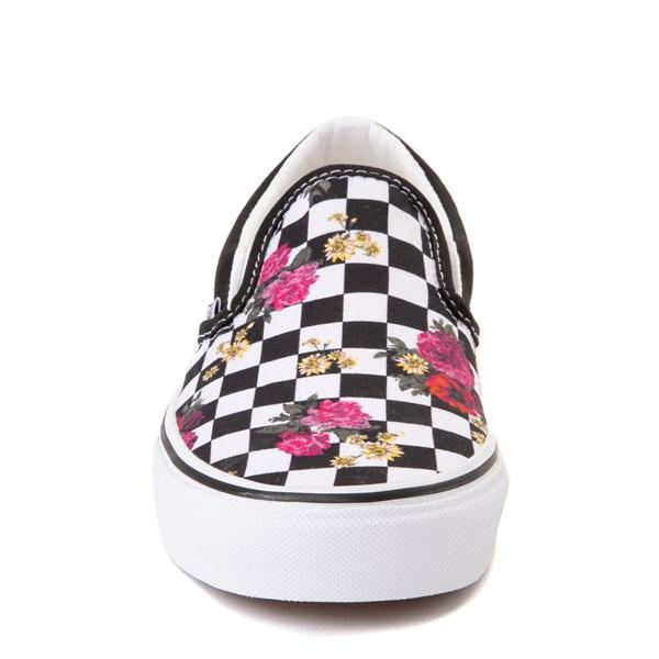 alternate view Vans Slip On Botanical Checkerboard Skate Shoe - Black / WhiteALT4