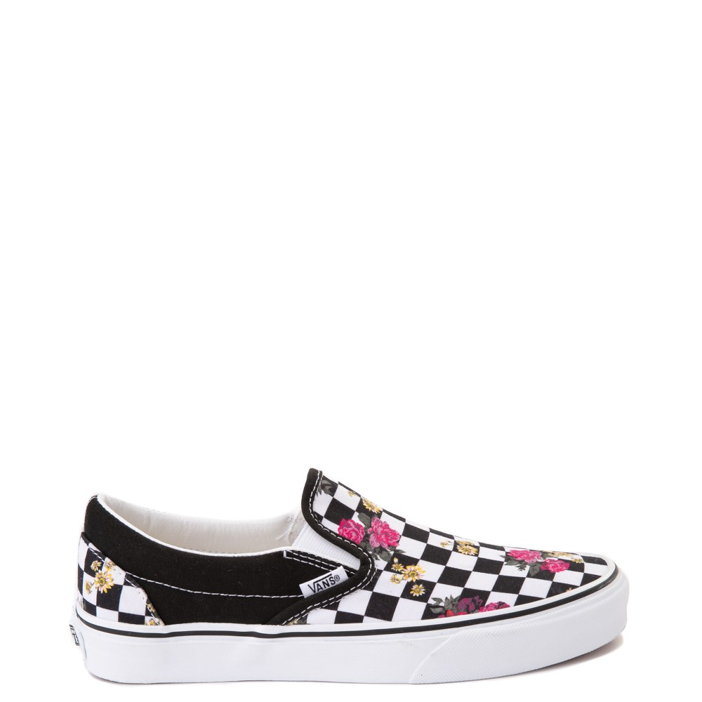 Vans Slip On Botanical Checkerboard Skate Shoe Black White