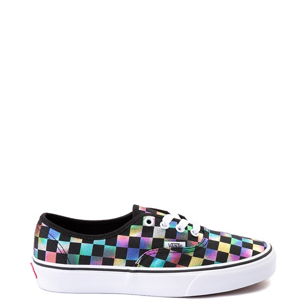 Default view of Vans Authentic Iridescent Checkerboard Skate Shoe - Black / Multi