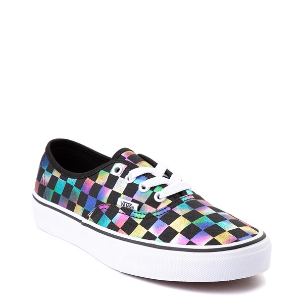 alternate view Vans Authentic Iridescent Checkerboard Skate Shoe - Black / MultiALT1