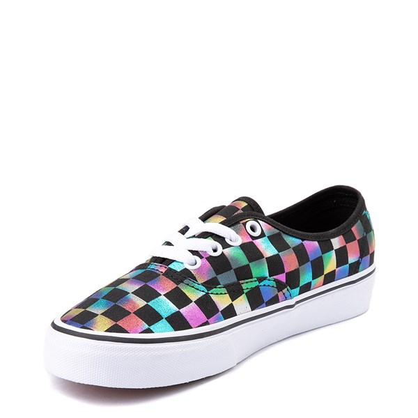 alternate view Vans Authentic Iridescent Checkerboard Skate Shoe - Black / MultiALT3