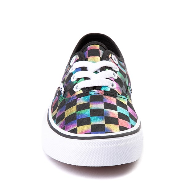 alternate view Vans Authentic Iridescent Checkerboard Skate Shoe - Black / MultiALT4