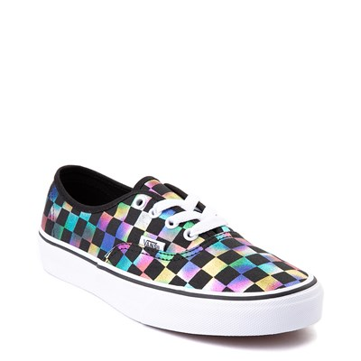 Alternate view of Vans Authentic Iridescent Checkerboard Skate Shoe - Black / Multi