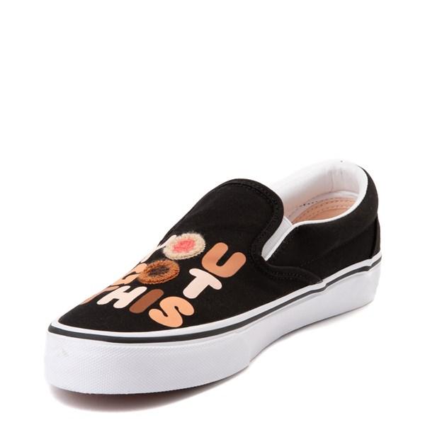 """alternate view Vans Slip On Breast Cancer Awareness """"You Got This"""" Skate Shoe - BlackALT3"""