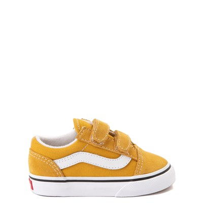 Main view of Vans Old Skool V Skate Shoe - Baby / Toddler - Yellow / White