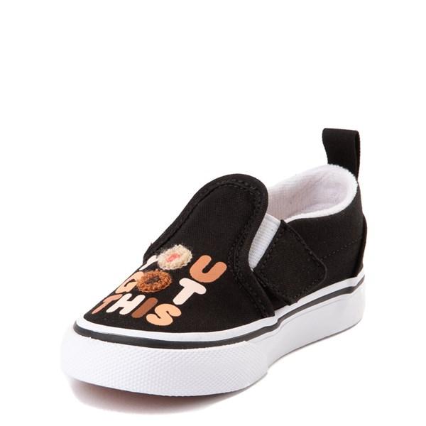 """alternate view Vans Slip On Breast Cancer Awareness """"You Got This"""" Skate Shoe - Baby / Toddler - BlackALT3"""