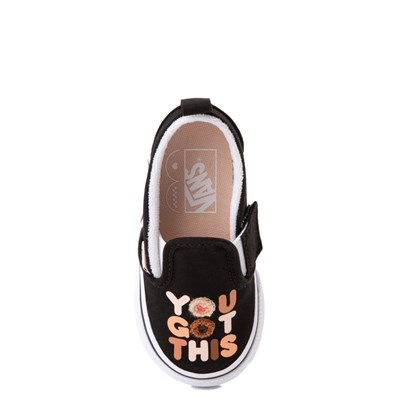 "Main view of Vans Slip On Breast Cancer Awareness ""You Got This"" Skate Shoe - Baby / Toddler - Black"
