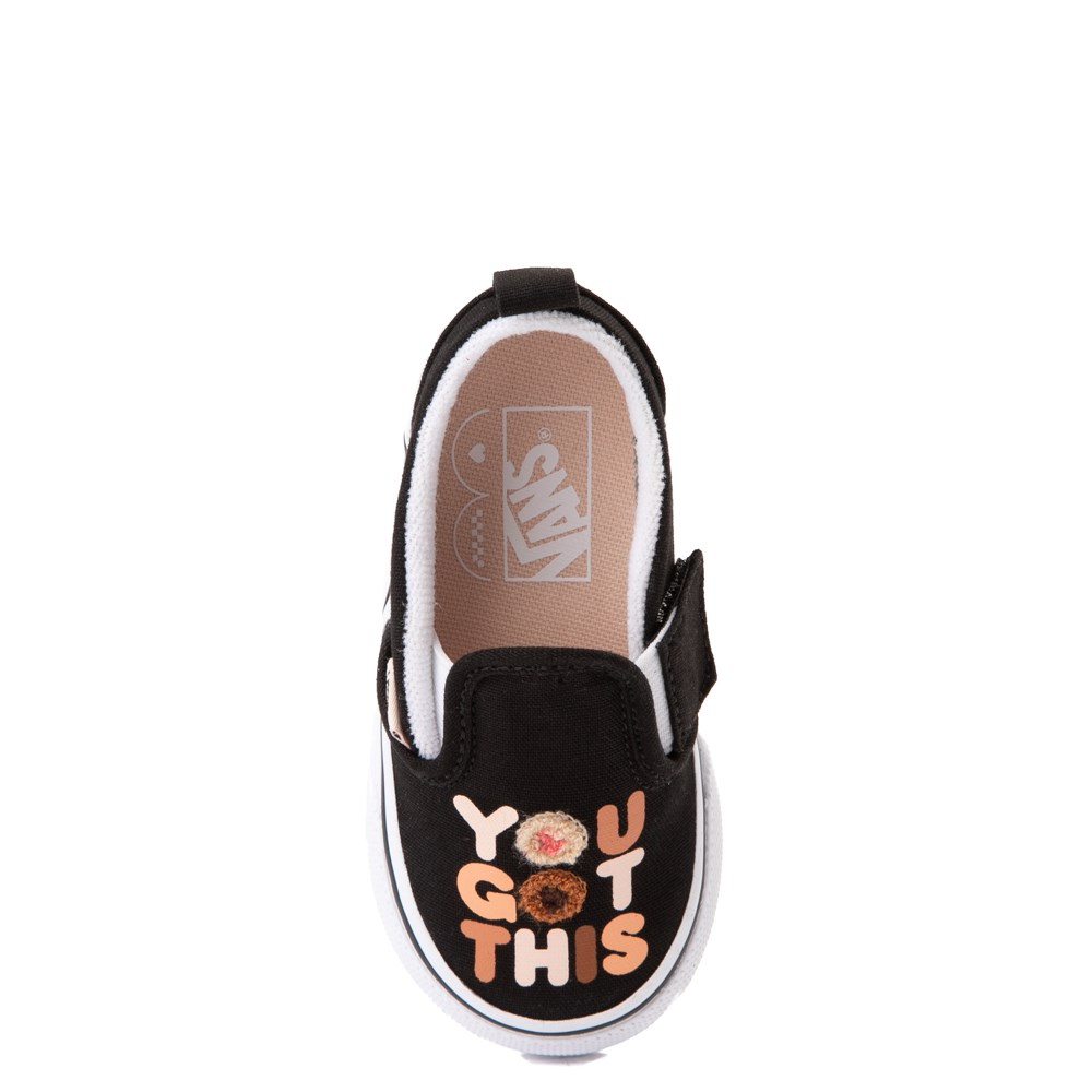 "Vans Slip On Breast Cancer Awareness ""You Got This"" Skate Shoe - Baby / Toddler - Black"