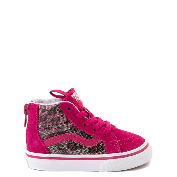 Default view of Vans Sk8 Hi Zip Leopard Skate Shoe - Baby / Toddler - Pink