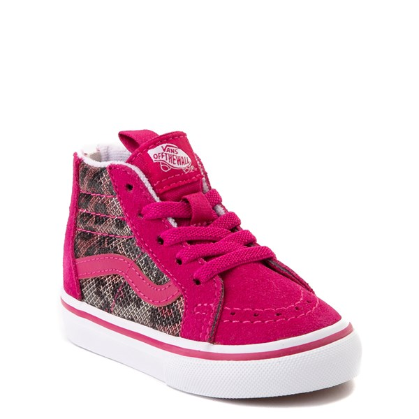 Alternate view of Vans Sk8 Hi Zip Leopard Skate Shoe - Baby / Toddler - Pink