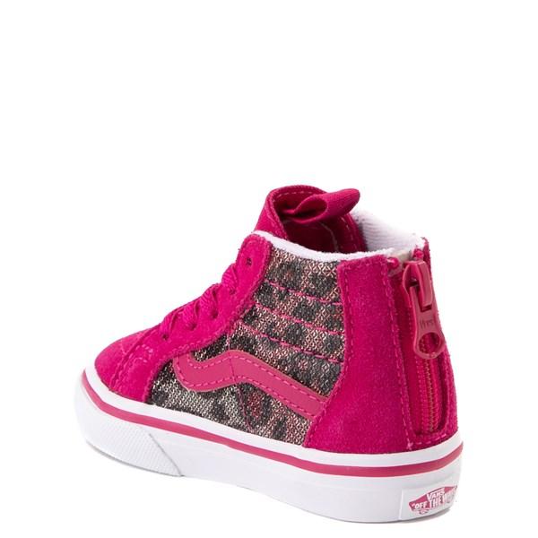 alternate view Vans Sk8 Hi Zip Leopard Skate Shoe - Baby / Toddler - PinkALT2