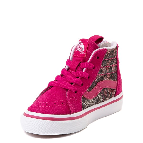 alternate view Vans Sk8 Hi Zip Leopard Skate Shoe - Baby / Toddler - PinkALT3