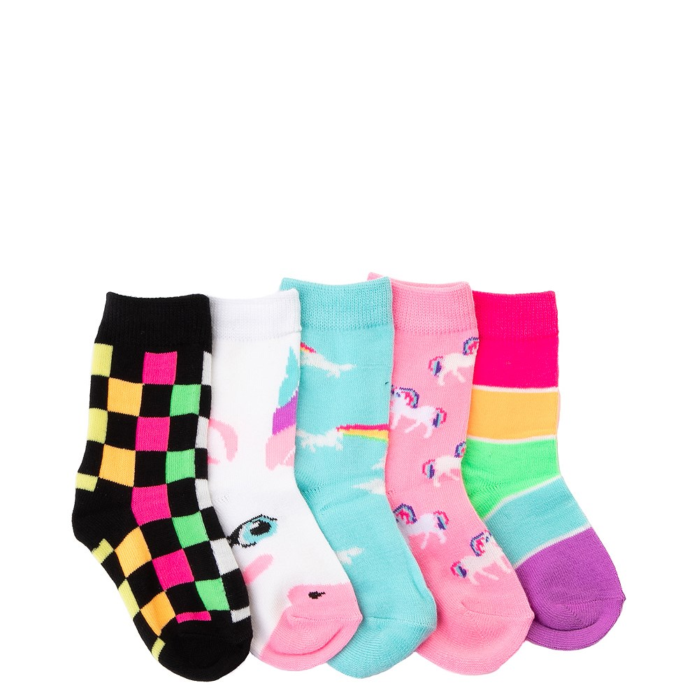 Unicorn Glow Crew Socks 5 Pack - Girls Toddler