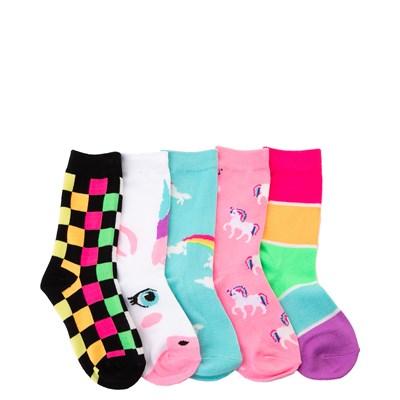 Main view of Unicorn Glow Crew Socks 5 Pack - Girls Little Kid