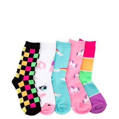 Main view of Unicorn Glow Crew Socks 5 Pack - Girls Big Kid