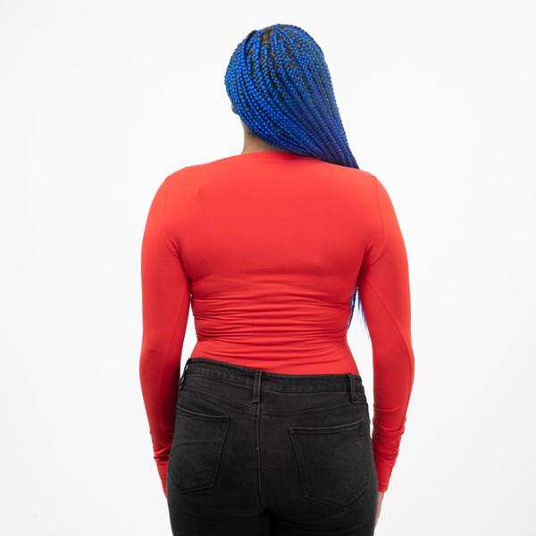alternate view Womens adidas Big Trefoil Long Sleeve Bodysuit - Lush RedALT1