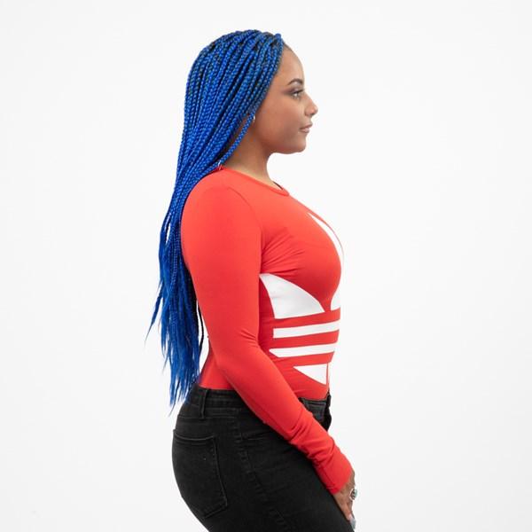 alternate view Womens adidas Big Trefoil Long Sleeve Bodysuit - Lush RedALT3