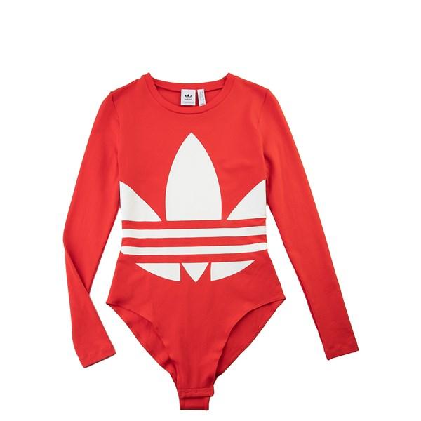 alternate view Womens adidas Big Trefoil Long Sleeve Bodysuit - Lush RedALT4