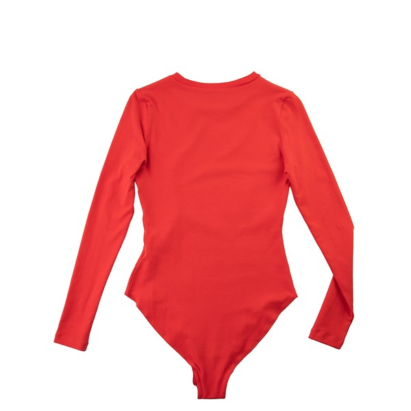 alternate view Womens adidas Big Trefoil Long Sleeve Bodysuit - Lush RedALT5