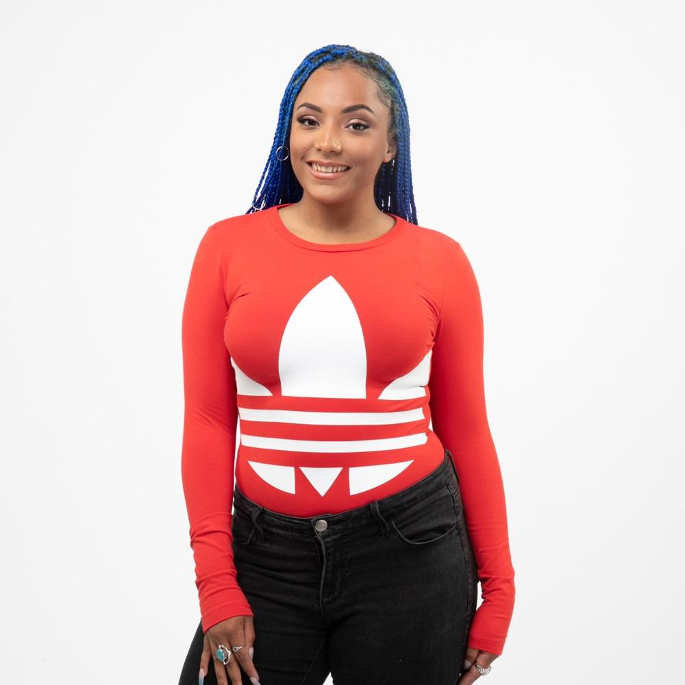 Womens adidas Big Trefoil Long Sleeve Bodysuit - Lush Red