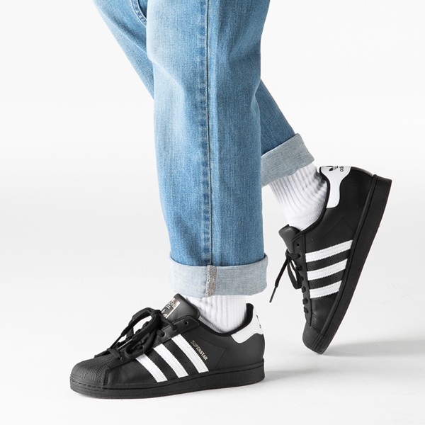 alternate view Mens adidas Superstar Athletic Shoe - Black / WhiteB-LIFESTYLE1