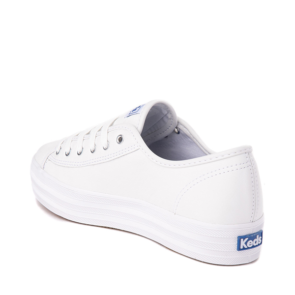 alternate view Womens Keds Triple Kick Leather Platform Casual Shoe - WhiteALT1