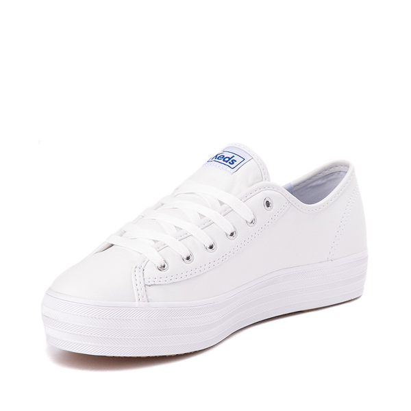 alternate view Womens Keds Triple Kick Leather Platform Casual Shoe - WhiteALT2