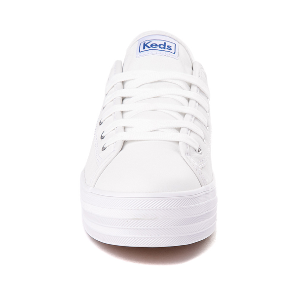 alternate view Womens Keds Triple Kick Leather Platform Casual Shoe - WhiteALT4