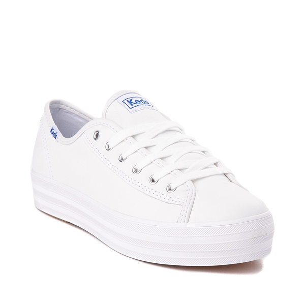 alternate view Womens Keds Triple Kick Leather Platform Casual Shoe - WhiteALT5
