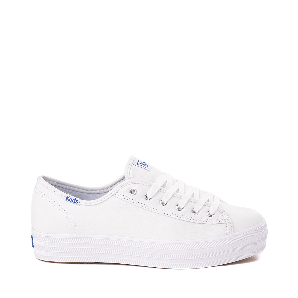 Womens Keds Triple Kick Leather Platform Casual Shoe - White