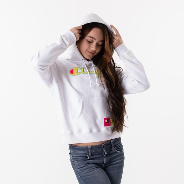 alternate view Womens Champion Reverse Weave Hoodie - White / GoldALT1