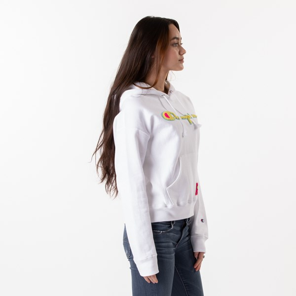alternate view Womens Champion Reverse Weave Hoodie - White / GoldALT3