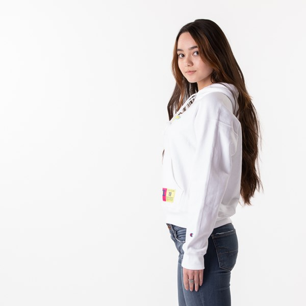 alternate view Womens Champion Reverse Weave Hoodie - White / GoldALT4