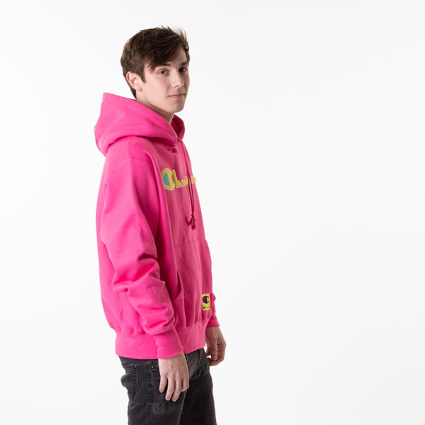 alternate view Mens Champion Reverse Weave Hoodie - Reef PinkALT3