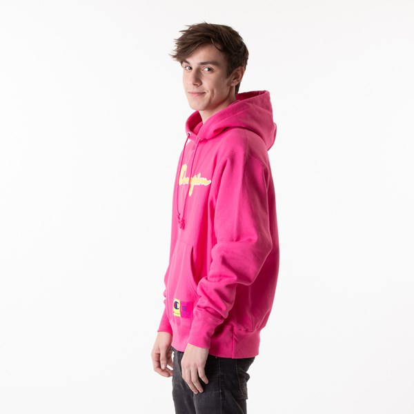 alternate view Mens Champion Reverse Weave Hoodie - Reef PinkALT4
