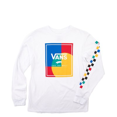 Main view of Vans Kalido Color-Block Long Sleeve Tee - Little Kid - White / Multi