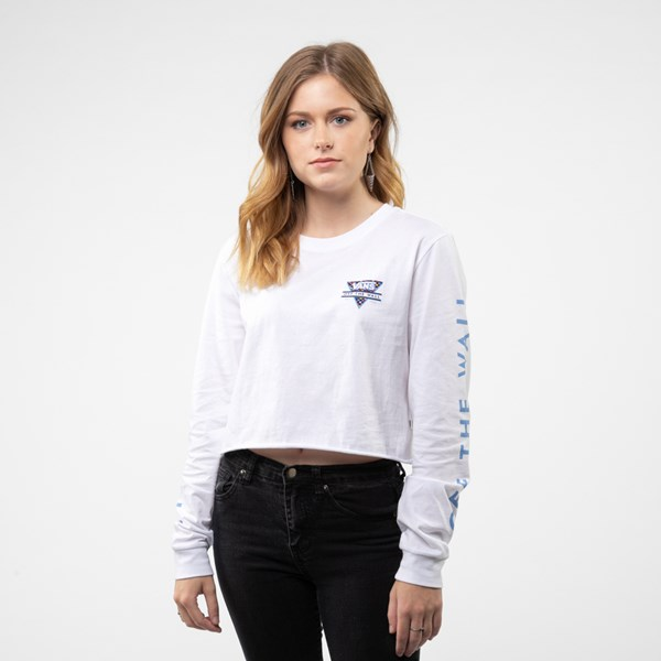 alternate view Womens Vans Particulate Cropped Long Sleeve Tee - WhiteALT1