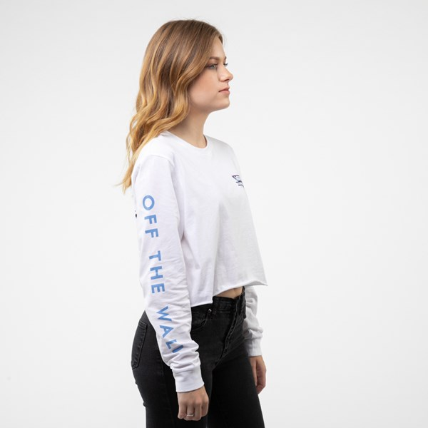 alternate view Womens Vans Particulate Cropped Long Sleeve Tee - WhiteALT3