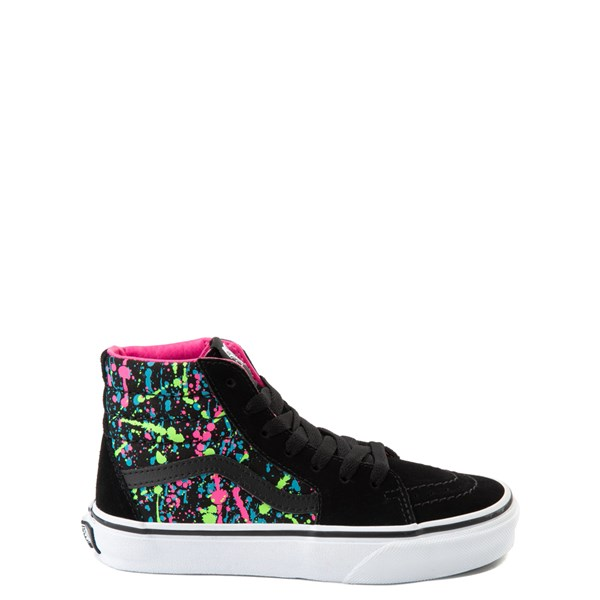 Default view of Vans Sk8 Hi Paint Splatter Skate Shoe - Little Kid / Big Kid - Black / Multi