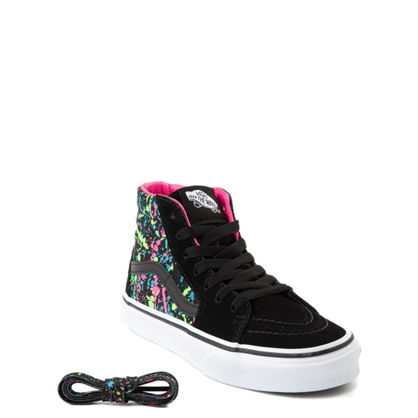 alternate view Vans Sk8 Hi Paint Splatter Skate Shoe - Little Kid / Big Kid - Black / MultiALT1