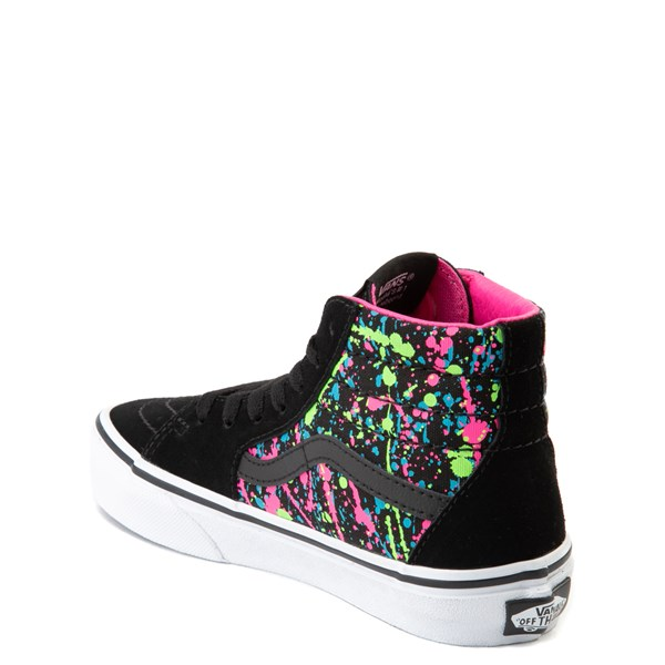 alternate view Vans Sk8 Hi Paint Splatter Skate Shoe - Little Kid / Big Kid - Black / MultiALT2