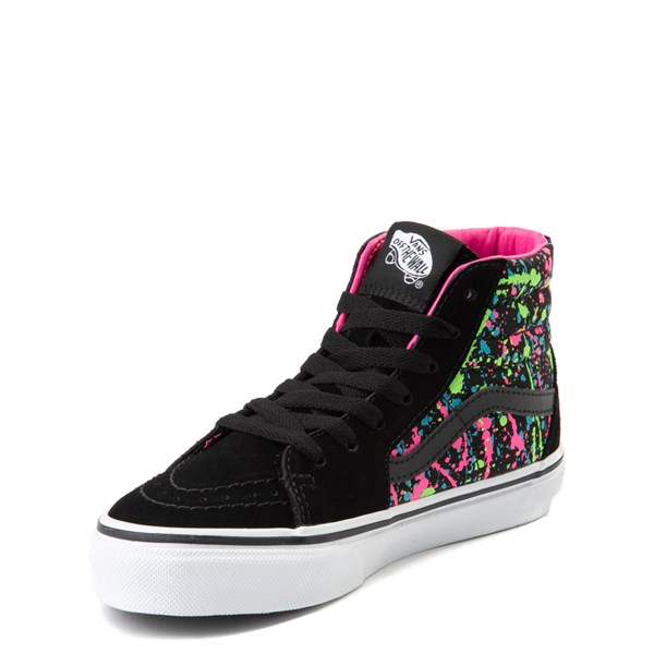 alternate view Vans Sk8 Hi Paint Splatter Skate Shoe - Little Kid / Big Kid - Black / MultiALT3