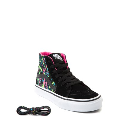Alternate view of Vans Sk8 Hi Paint Splatter Skate Shoe - Little Kid / Big Kid - Black / Multi