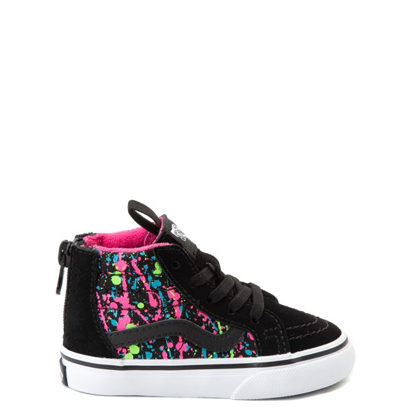 Default view of Vans Sk8 Hi Zip Paint Splatter Skate Shoe - Baby / Toddler - Black / Multi